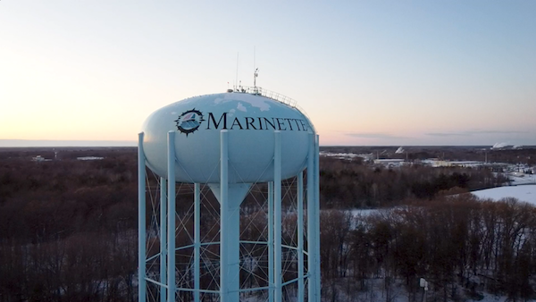 Water Tower in Marinette from above