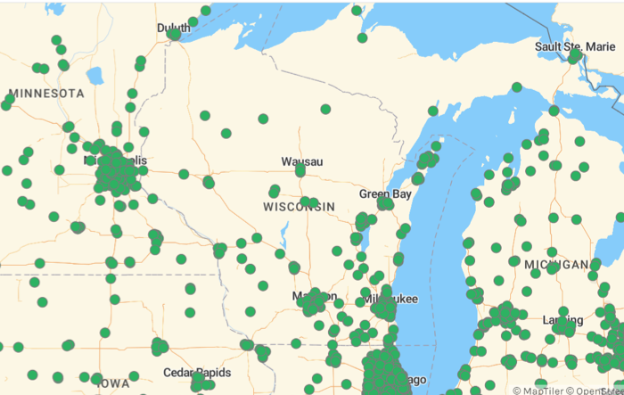 EV charger locations, Wisconsin