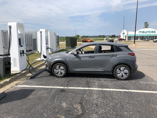 EV at charging station in Wisconsin